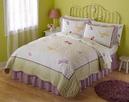 girls quilt bedding bedroom girls bedspread with butterfly and dragonfly pattern and