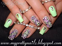 stained glass nail art design with easy diy sponge gradient and