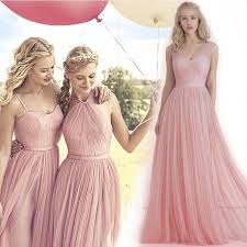 2016 new blush pink flowing a line tulle bridesmaid dresses