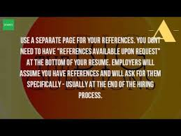 Where To Put References On Resume Where Do You Put Your References On A Resume Youtube