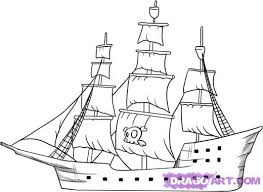 ghost pirate ship drawing