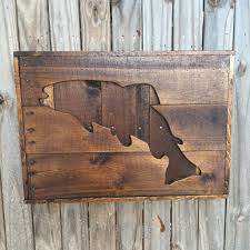 recycled wood trout cut out rustic country recycled wood sign fishing trophy