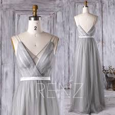 Light Gray Bridesmaid Dress 2016 Light Gray Bridesmaid Dress V Neck Spaghetti Straps Wedding