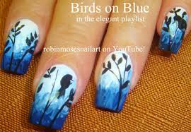 robin moses nail art flying birds on a blue sky with fluffy