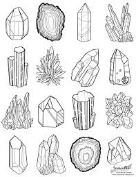 coloring page for adults online geode top left free gem line art
