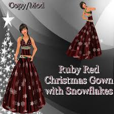 second life marketplace ruby red christmas gown with snowflakes