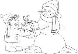vector illustration coloring snowman giving present