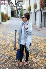 cozy oversized sweater leather pants and a pop of blue