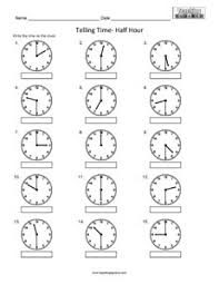 telling time to the nearest half hour clock worksheets teaching