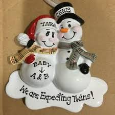 personalized christmas ornament pregnant snowman couple with pet