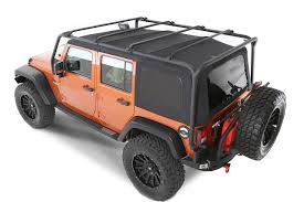 used jeep rubicon 4 door smittybilt 76717 src roof rack in textured black for 07 17 jeep