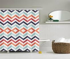 Orange And Blue Shower Curtain Orange Chevron Shower Curtain