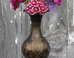 Brass Vase Value Vintage Etched Floral Brass Vase Modern Eclectic Decor