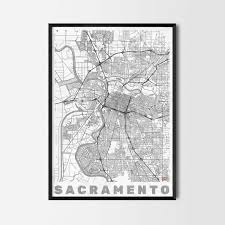 sacramento gift map art prints and posters home decor gifts