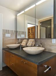 mirrored medicine cabinets with tile wall bathroom transitional