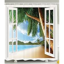 amazon com ocean shower curtain decor by ambesonne palm trees