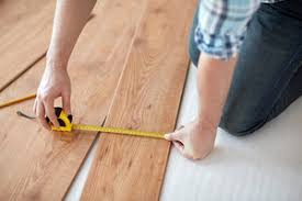 up of measuring wood flooring royalty free stock