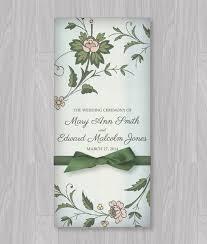 Tri Fold Wedding Program Watercolor Flowers Tri Fold Program Template Program Template