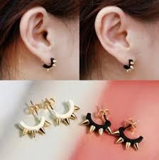 hip earrings retro rivet spike earring cuff ear stud pin piercing