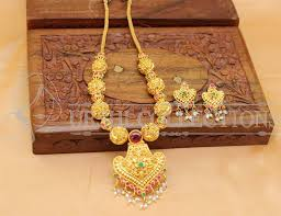 lovely designer one gram gold plated necklace set with back