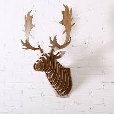 fallow reindeer head 3d wooden wall home decor animal hanging deer
