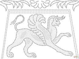 ancient greek mosaic depicting griffin coloring page free