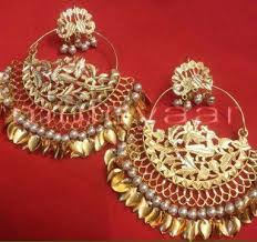 punjabi jhumka earrings made 24 ct gold plated traditional punjabi jewellery