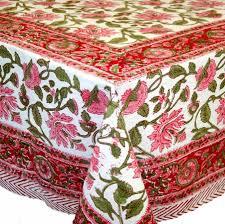 handmade lotus flower block print 100 cotton tablecloth 60x90