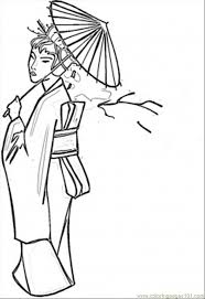 lady umbrella coloring free japan coloring pages