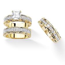 overstock wedding ring sets 3 10 tcw princess cut cubic zirconia 14k gold plated wedding ring