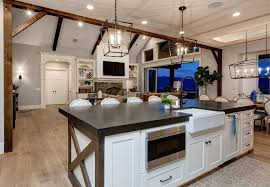 kitchen island farmhouse timber frame home with farmhouse inspired interiors home bunch