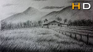 how to draw a landscape with pencil step by step for beginners