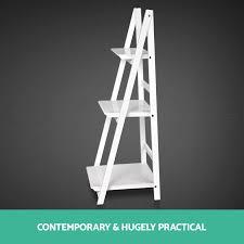 Wooden Ladder Bookcase by Wooden Ladder Shelf 3 Tier Stand Storage Book Shelves Shelving