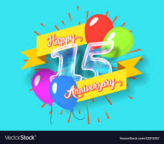 happy glass happy 15th anniversary glass bulb numbers set vector image