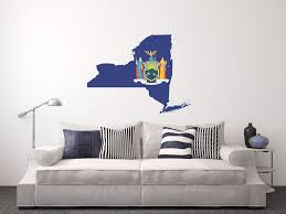 buckeye inkworks us state flag in a state shape new york flag in the state shape wall decal