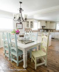 love the idea of each chair a different pastel color with a rustic