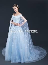 Wedding Dresses Light Blue In Stock Light Blue Beach Wedding Dresses With Cape Long Train