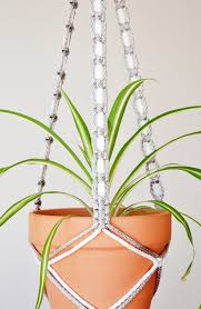 White Hanging Planter by Macrame Plant Holder Plant Hanger Gray And White Hanging