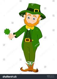 cute leprechaun character holding four leaf stock vector 184022027