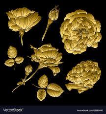 golden roses golden roses set royalty free vector image vectorstock