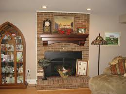 awesome wood over brick fireplace home design great top in wood
