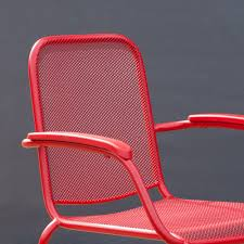 Stackable Mesh Patio Chairs by Royal Garden Milo Metal Mesh Stacking Arm Chair Red 4 Pack