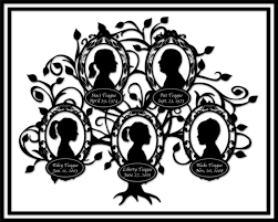 family tree custom silhouette design family of five