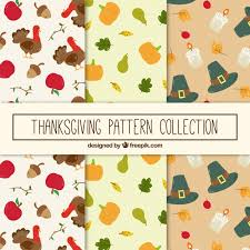 set of thanksgiving patterns vector free