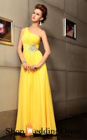 one shoulder chiffon a line beaded yellow prom party gown on sale