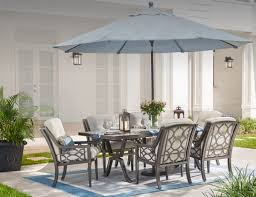 Patio Dining Set With Umbrella Outdoor Dining Furniture At The Home Depot