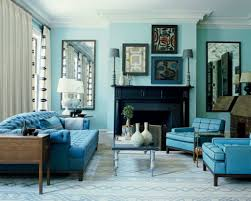 coastal living room with monochromatic color schemes and blue