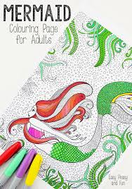 mermaid coloring adults easy peasy fun
