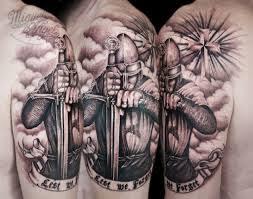 helmet tattoos clouds and helmet warrior on half sleeve design