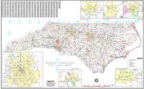 Zip Code Boundary Map by Mapshop U0027s North Carolina Zipcode Map Close Up